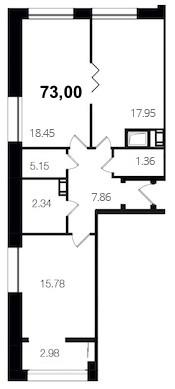 Планировка Двухкомнатная квартира площадью 73 кв.м в ЖК «Новый Город»