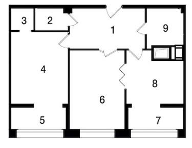 Планировка Двухкомнатная квартира площадью 64.2 кв.м в ЖК «Новый Город»