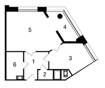 Планировка Однокомнатная квартира площадью 49.5 кв.м в ЖК «Новый Город»