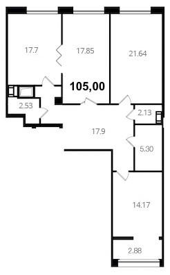 Планировка Трёхкомнатная квартира площадью 105 кв.м в ЖК «Новый Город»